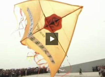 风筝节看点二:面积72平米的世园主题巨型风筝签名放飞